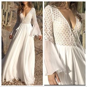 Romantic white maxi dress lacy bodice bell sleeves